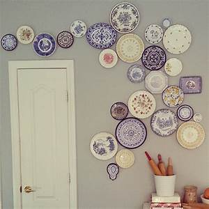 Diy hanging plate wall designs with fine china fancy
