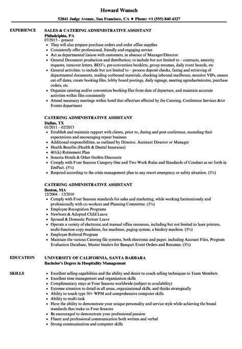 Kitchen Assistant Description Resume by Catering Administrative Assistant Resume Sles Velvet