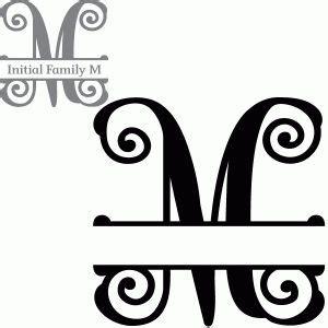 split initial letter  lettering silhouette design cricut monogram