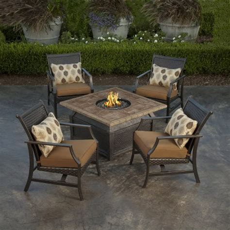 Decorative Outdoor Lumbar Pillows by New 5 Piece Fire Pit Chat Set 42 Quot Square Porcelain Top