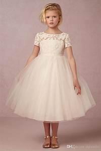 beige flower girls dresses short sleeve ball gown pleats With robe de cortege femme