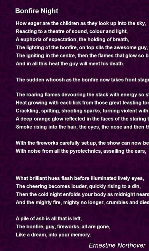bonfire night poem  ernestine northover poem hunter