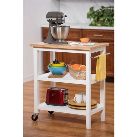 Trinity White Kitchen Cart With Towel Bartbflwh1402