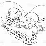 Playing Coloring Hopscotch Istock sketch template