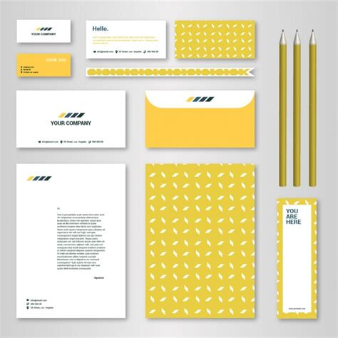 corporate identity template with yellow pattern for brandbook and guideline vector free download