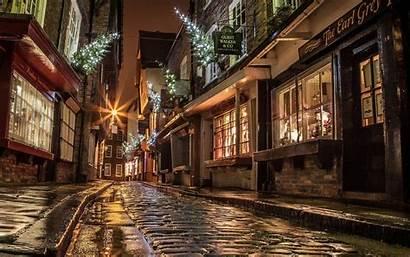 England Christmas Night Street Lights Scene York