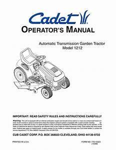 Cub Cadet 1212 Lawn Mower User Manual