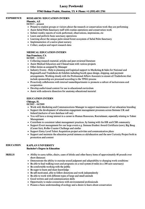 education intern resume samples velvet jobs