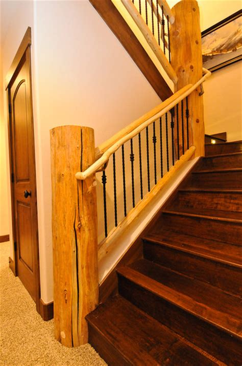 rustic log cabin rustic staircase denver