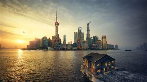 wallpaper shanghai sunset dusk floating house hd