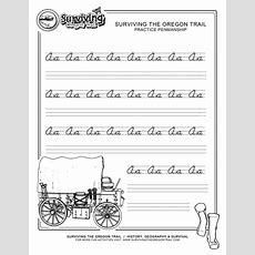 Free Printable Beginner Practice Cursive Worksheet  A A Only  Surviving The Oregon Trail