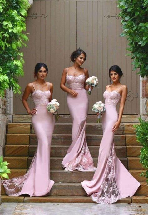 2018 Pink Mermaid Bridesmaid Dresses Lace Spaghetti Straps