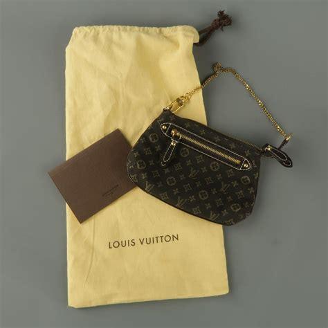 louis vuitton brown monogram fabric gold chain strap mini purse wallet pouch bag  stdibs