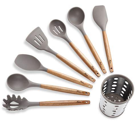 miusco  piece silicone cooking utensil set  natural acacia hard wood handle ebay
