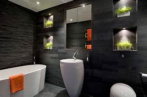15 amazing black bathroom designs With carrelage adhesif salle de bain avec luminaire led mural
