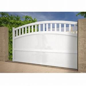 Portail 3 50m : portail alu coulissant motoris convexe droite blanc 3x1 ~ Premium-room.com Idées de Décoration