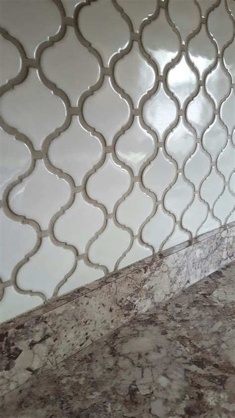 arabesque lantern tile with oyster gray grout home