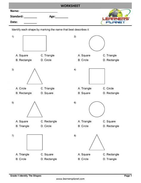 st grade geometry worksheets identify  shapes