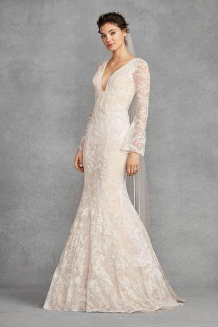 white  vera wang bell sleeve lace wedding dress david