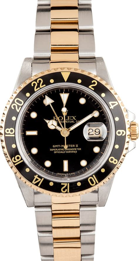 Pre-Owned Rolex GMT Master II Stainless Steel and Gold ...