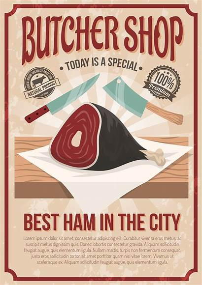 Poster Butcher Vector Meat Butchery Advertising Knife