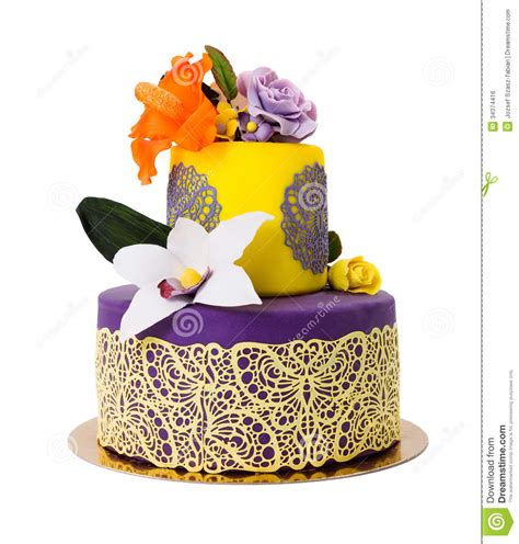 colorful cake decorated  candy flowers  lace stock