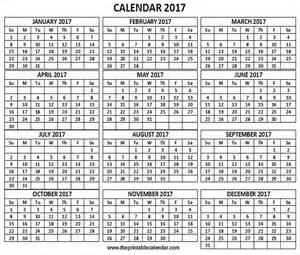 12 Month 2017 Calendar Printable Full Page
