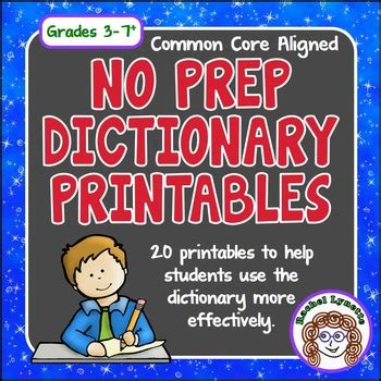 dictionary skills printables by lynette tpt