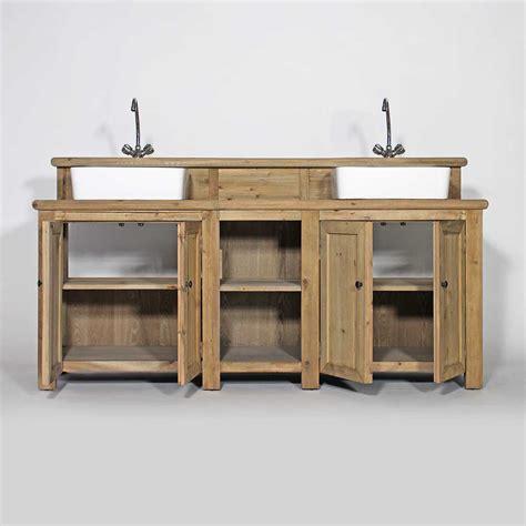 Meuble salle de bain bois massif 2 vasques 4 portes 2 niches Made In Meubles