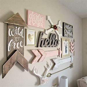 Boho woodland baby girl nursery hailey39s nursery for Cute little girl wall decals ideas