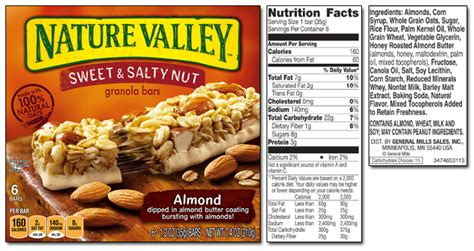 nature valley peanut butter granola bar nutrition label