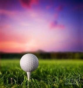 Golf Ball On Tee At Sunset Photograph by Michal Bednarek