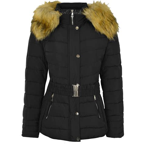 womens ladies  size fur hooded quilted padded winter