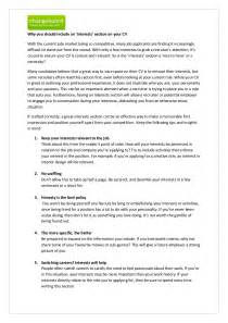 personal interest section resume exle doc 590800 cv exles hobbies and interests bizdoska