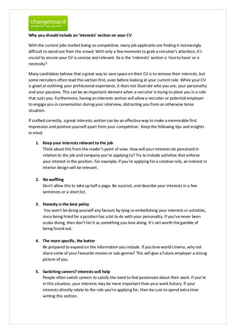 Resume Interests by Hobbies And Interests For Resume Cv Hobbies And Interests Sle Doc 590800 Cv Exles Hobbies And