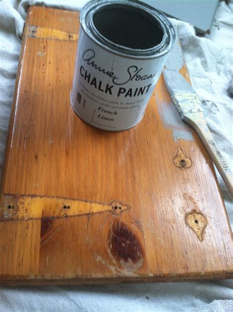 Annie Sloan chalk paint in French linen, over knotty pine