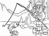Lake Fisherman Landscape Coloring Fishing Printable Adult Categories sketch template