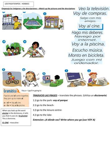 spanish hobbies year 8 worksheet by dkboaler teaching