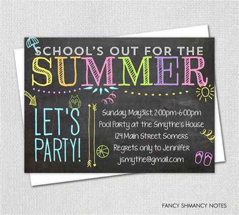 Pool Party Invitation/ End of Year Party / School's Out