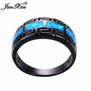 junxin male female blue fire opal ring black gold filled With black and blue mens wedding ring