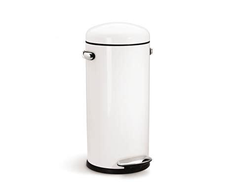 Simplehuman 30l White Steel Retro Step Trash Can