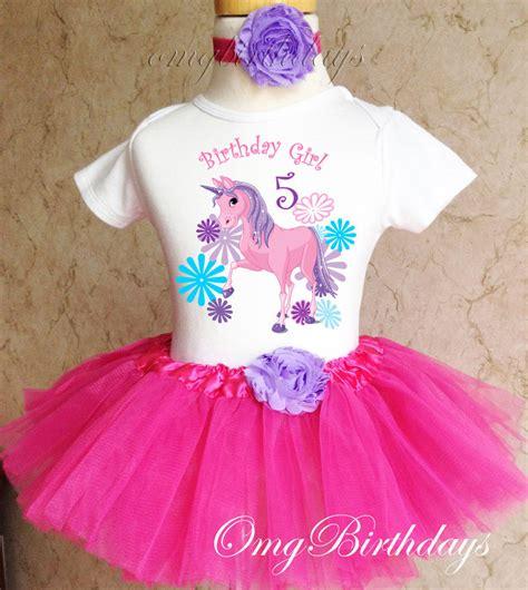 Unicorn Pink Purple Girl 5th Fifth Birthday Tutu Outfit Shirt Set Party dress   eBay