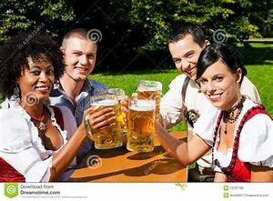 Group Of Four Friends In Beer Garden Royalty Free Stock ...