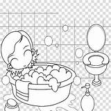 Bathroom Bathing Clipart Coloring Child Drawing Background Transparent Hiclipart sketch template