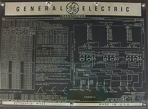 General Electric Power Transformer Nameplate  50 Mva