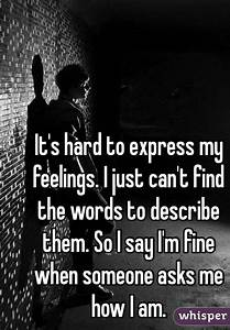 It's hard to express my feelings. I just can't find the ...
