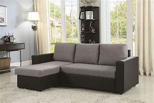 Everly, Modern, Gray, U0026, Black, Sleeper, Sectional, With, Storage, Chaise