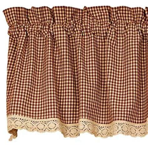 primitive country kitchen curtains new primitive country gingham burgundy check lacetrim 4414