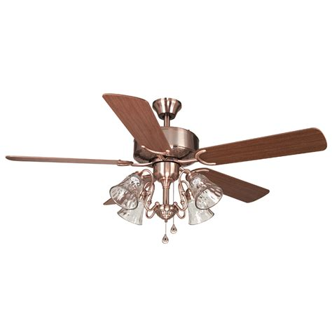 copper ceiling fan with light shop harbor dubois 52 in brushed copper indoor