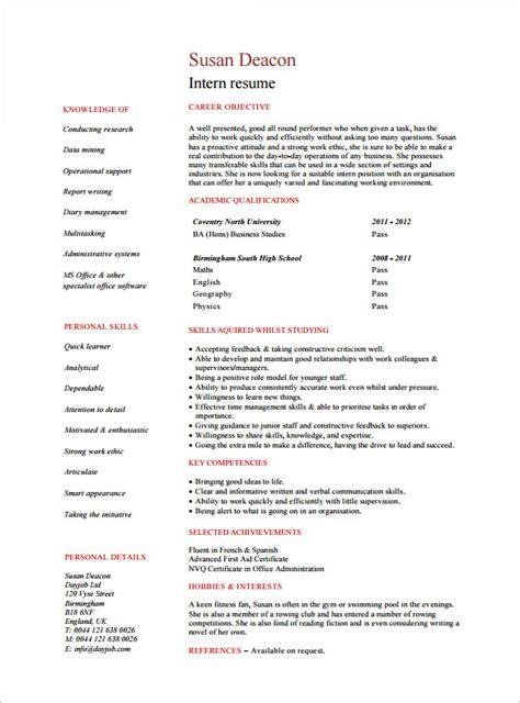 internship resume templates    premium